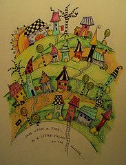 Zentangle inspired village