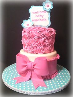 """Baby Shower - Designed from invitation....the """"mom to be"""" wanted lots and lots of buttercream, so we did buttercream rosettes for the top tier.  All other accents made from fondant.  TFL!"""