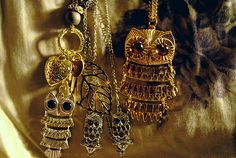 Gold and silver, gemstone owl necklaces