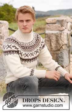"Ivalo - Knitted DROPS jumper for men with round yoke and Norwegian pattern in ""Karisma"". - Free pattern by DROPS Design Fair Isle Knitting Patterns, Sweater Knitting Patterns, Free Knitting, Crochet Patterns, Drops Design, Nordic Sweater, Men Sweater, Crochet Jumper, Sweater Design"