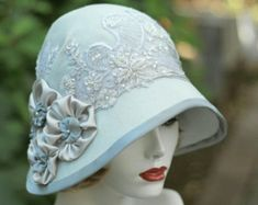 Downton Abbey Hats | Downton Abbey 1920's Vintage St yle Lace, beads Sequins Wedding Hat in ...