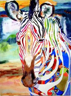 """Funky Fellow zebra - watercolor by ©Kay Smith (via DailyPainters) . Proves the theory: paint a recognizable realistic object but give it wildly unrealistic colors and it still """"works. Modern Art Paintings, Animal Paintings, Original Paintings, Watercolor Artists, Watercolor Animals, Bright Colors Art, Gothic Wallpaper, Zebra Art, Funky Art"""