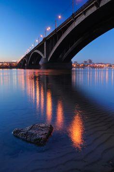 Kommunalny bridge. Krasnoyarsk city, Siberia,Russia.