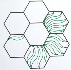 Ideas for quilting hexagos (w/printable hexagon sheet) by Greta at Geta's Quilting Studio