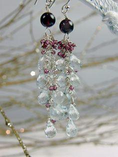 Blue Aqua Marine and Garnet Gemstone Cluster Earrings by #AlisonStorryJewelry #artisanearrings