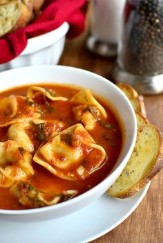 Tomato Basil Soup with Cheese Tortellini