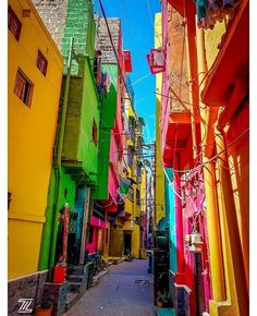 The very colorful street called Baghdadi Gali in Lyari, Karachi. Photo by @ilmazuberi #Travelbeautifulpakistan