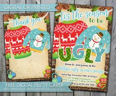 Ugly Sweater Invitation, Ugly Sweater Christmas Invitation, Christmas Sweater Invitation, Christmas Party Invitation, Holiday Party #492 by PerfectPrintableCo on Etsy