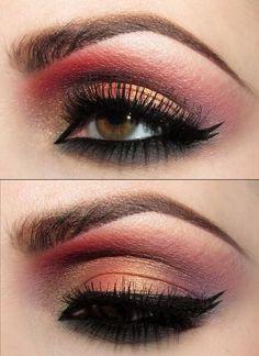 Burgundy coral eye makeup for hazel eyes
