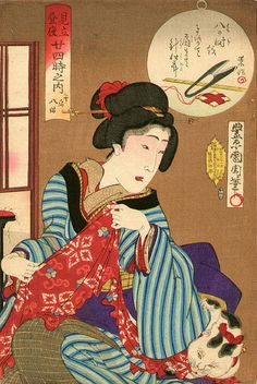 Toyohara Kunichika, Notice her snippers and thread bobbin at top.