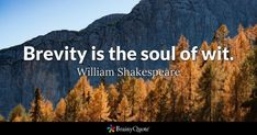 Brevity is the soul of wit. - William Shakespeare