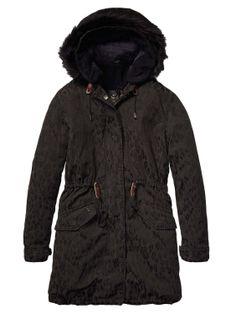 Long Animal Jacquard Parka > Womens Clothing > Jackets at Maison Scotch