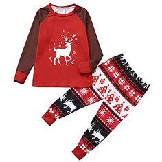 LQQSTORE Natale Pigiami Famiglia Pigiami Due Pezzi Famiglia Montato Toddler Bambino  Ragazzi Ragazze Uomini Donne Cartoon Set Famiglia Vestiti Vestiti per la ... b539de632230