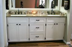 Build your own gorgeous DIY double bathroom vanity following these free plans and steps and save hundreds of dollars.