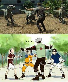 Jurassic World x Naruto Anime Naruto, Naruto Comic, Naruto Sasuke Sakura, Naruto Cute, Haikyuu Anime, Naruto Uzumaki Shippuden, Naruto Shippuden Characters, Anime Meme, Funny Anime Pics