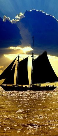 Sail boat Blue Sky Background