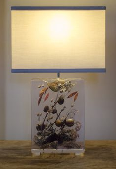 Woodlands lamp (forest debris - including leaves, lichens, twigs, cones & nuts - resin & acrylic)