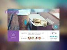 Grid layout, individual block content design, Food Widget by Andreea Nicolaescu Menu Design, App Design, Mobile Design, Card Ui, Tablet Ui, Cooking App, Ui Design Inspiration, Design Ideas, Recipes