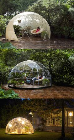 The Garden Igloo is a transparent canopy for your garden that allows you to cherish the scenery all while being shielded under a geodesic dome.
