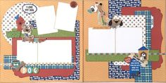 Photoplay Paper Fetch Dog Theme Two Page Scrapbook Layout - Paisleys and Polka Dots Page Layout, Layout Design, Scrapbook Pages, Scrapbook Layouts, Scrapbooks, Paisley, Polka Dots, Paper Crafts, Echo Park