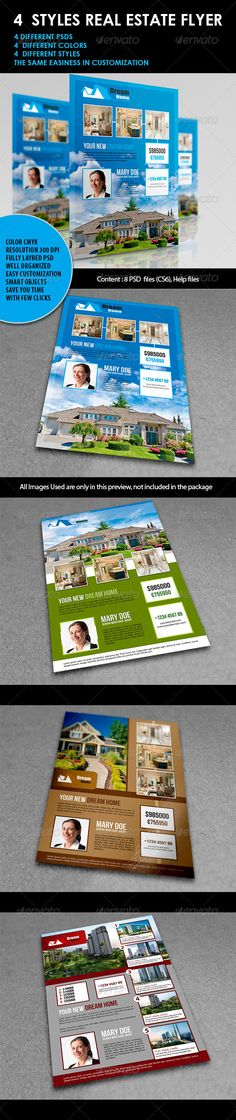 4 Styles Real Estate Flyer  #GraphicRiver        Four eye-catching professional and clean flyer templates, designed exclusively for real estate companies and home seller agents and can be customized for any property-related industry, as It can be used for other purposes to. It is designed to be intuitive to customize, edit text, change colors and drop photos in with ease.
