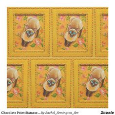 Chocolate Point Siamese Cat on Floral Rug Fabric. Acrylic painting of a Chocolate Point Siamese Cat framed in a repurposed vintage frame. Visit Cat-Paintings.com to read about this painting.