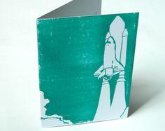 "Hand-printed Shuttle Card.  5"" x 7"" Greetings Card.  Rocket Take Off Card."