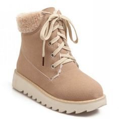 $36.67 Preppy Plush and Lace-Up Design Women's Suede Short Boots