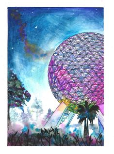 Disney's Spaceship Earth inspired Epcot art print Walt | Etsy Disney Parks, Walt Disney, Epcot Attractions, Fox Scarf, Spaceship Earth, Cat Hat, Gouache Painting, Fine Art Prints, Tapestry