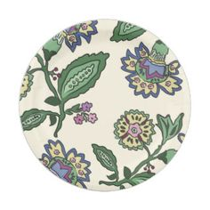 big flower jac green 7 inch paper plate
