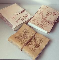 http://www.ardeas.sk/ / handmade / bookbinding / bookbinder / leather journal / pyrography / pattern / maps