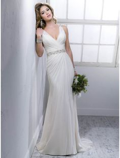 Chiffon V-neck Neckline Sheath Wedding Dress with Beaded Waistband - Bridal Gowns - RainingBlossoms