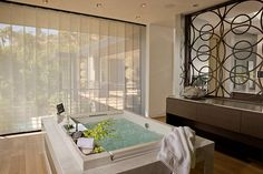 The streamlined aesthetic of these  Skyline® Gliding Window Panels creates the aura of tranquility in this in-home spa. 2008 Esquire Showhouse, Designer: Xorin Balbes ♦ Hunter Douglas window treatments