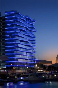 Choosing the Right Pergola Design Interesting Buildings, Amazing Buildings, Modern Buildings, Facade Lighting, Exterior Lighting, Hotel Architecture, Contemporary Architecture, Architecture Design, Building Facade