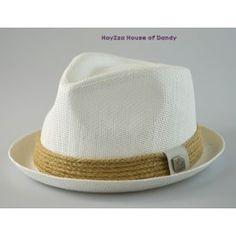 abe8f6a95a0c6 Mens Summer Fedora White  Straw Band Cuban Style Upturn Short Brim Hat