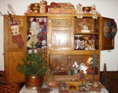 Hoosier cupboard decorated for Christmas