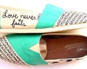 The Ashley Teal and Ash Gray Custom TOMS by FruitfulFeet on Etsy