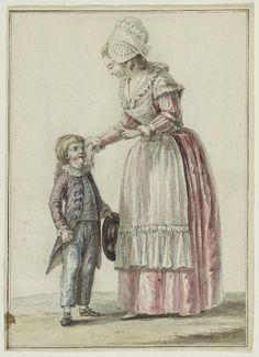 """GALKD1444 Le Clerc ou Leclerc, Pierre Thomas (1740 - 1799) Dessinateur 1784 Négligé d'une jeune dame de qualité avec un enfant """"La robe est une espèce de chemise de petite étoffe de soie, bonnet rond de gaze, fichu grisé et tablier de mousseline. L'enfant est vêtu d'un fraque par dessus son matelot."""" Dessin pour gravure """"Galerie des Modes et Costumes français"""", 41e cahier (bis), 36ème """"suite d'Habillements en 1784"""", supplément au 6e cahier des Coëffures, xx259, ( éd. Cornu pl. 177.)"""