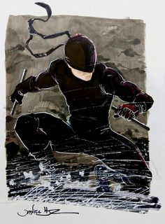 Daredevil  Here comes the Daredevil - Man Without Fear Sketch with Copic Markers and Withe Out pen.