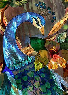 Glass art peacock