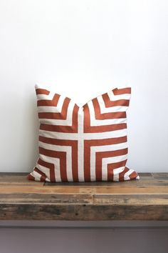 "Doha metallic copper & off-white handprinted organic hemp pillow cover 20x20"" by melongings studio"