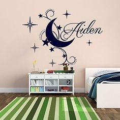 Special Custom name Personalized Wall Stickers Home decor Mural Poster Decal Vinyl Nursery Kids Room Cute Moon Star Art Decor-you choose color. 1.Finished size (after being put upon the wall): Finished Size Around: 56x76cm= 22x30inch . Size will vary differently according to the way you arrange; 2. Refer to the Color Chart in product's description; (default color: navy blue); Real colors may be slightly different than what you see in computer due to monitor difference; 3.Font (if you do…