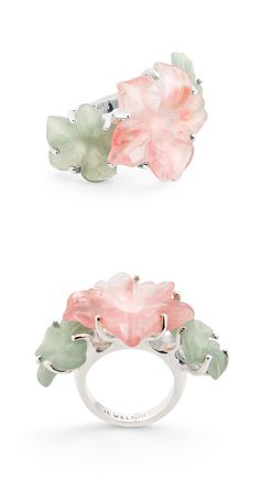 Jade & Coral Posies Ring ღ SO pretty!