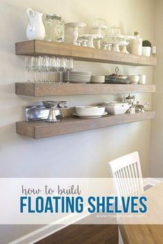 DIY Dining Room Decor Ideas - Simple Floating Shelves In Your Dining Room - Cool DIY Projects for Table, Chairs, Decorations, Wall Art, Bench Plans, Storage, Buffet, Hutch and Lighting Tutorials http://diyjoy.com/diy-dining-room-decor-ideas