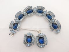 Bracelet and clip on earring set royal blue cabochons light blue rhinestones AA750 by MeyankeeGliterz on Etsy
