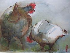 conversation entre poules.  Maria-Helene Stezhko