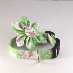 Adjustable, handmade, designer Dog Collar Flower Sets accessories with White Easter Bunny on Green fabric print for cats and small teacup and toy breed dogs, like Maltese, yorkies and Chihuahuas at Little Dog Fashion Pet Boutique