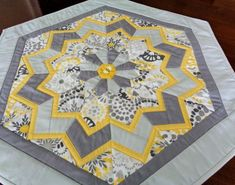 Items similar to Gray and Yellow Hexagon Table Topper - Quilted Table Topper - Bee Table Decor -Flower Table Runner - Dining Table Decor - Quilted Tablecloth on Etsy Patchwork Table Runner, Table Runner And Placemats, Table Runner Pattern, Quilted Table Runners, Hexagon Patchwork, Hexagon Quilt, Hexagons, Table Topper Patterns, Quilted Table Toppers