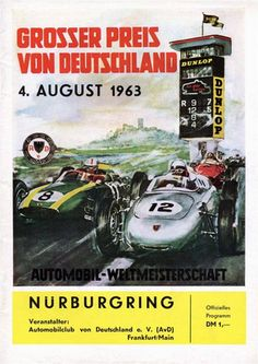 1963 German Grand Prix depicting Porsche, Cooper and Ferrari Grand Prix cars of the early 1960s in front of the famous Nurburgring control tower