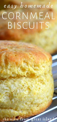 My easy homemade cornmeal biscuits have the crunchy, nutty sweet flavor of cornbread, and the light fluffiness of a biscuit ~ they pair perfectly with chili! # Food and Drink pairing Easy Homemade Cornmeal Biscuits Beef Recipes, Baking Recipes, Easy Bread Recipes, Recipies, Easy Biscuit Recipes, Simple Biscuit Recipe, Fodmap Recipes, Muffin Recipes, Yummy Recipes
